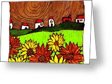 Sunflowers And Fields Greeting Card