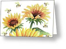 Sunflowers And Honey Bees Greeting Card