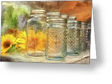 Sunflowers And Jars Greeting Card