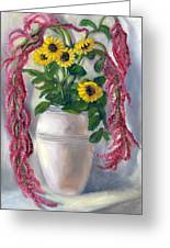 Sunflowers And Love Lies Bleeding Greeting Card