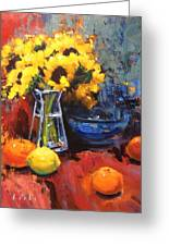 Sunflowers And Oranges Greeting Card