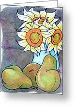 Sunflowers And Pears Greeting Card