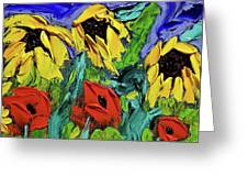 Sunflowers And Poppies - Little Treasures Series Greeting Card