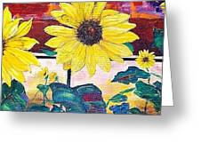 Sunflowers And Train Greeting Card