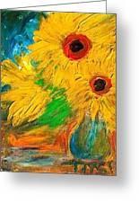 Sunflowers By The Lake Greeting Card