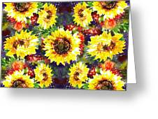 Sunflowers Impressionism Pattern Greeting Card