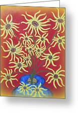Sunflowers In A Blue Vase Greeting Card