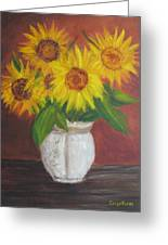 Sunflowers In A Clay Pot Greeting Card
