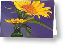 Sunflowers In A Green Bottle Greeting Card