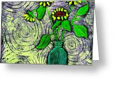 Sunflowers In A Green Vase Greeting Card