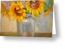 Sunflowers In A Silver Vase Greeting Card
