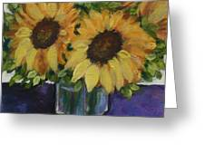 Sunflowers In A Square Vase Greeting Card