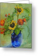 Sunflowers In Blue          Copyrighted Greeting Card