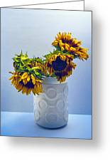 Sunflowers In Circle Vase Blue Tournesols Greeting Card