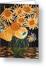 Sunflowers In Clear Vase Greeting Card