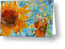 Sunflowers In Fields Greeting Card