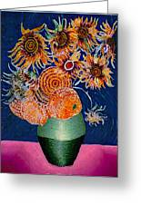 Sunflowers In Green Vase Greeting Card
