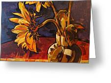 Sunflowers In Italian Vase Take Two Greeting Card