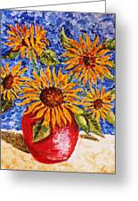 Sunflowers In Red Vase. Greeting Card