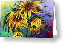 Sunflowers In The Rain Greeting Card