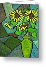 Sunflowers In Vase Green Greeting Card