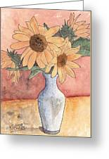 Sunflowers In Vase Sketch Greeting Card
