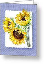 Sunflowers On Baby Blue Greeting Card