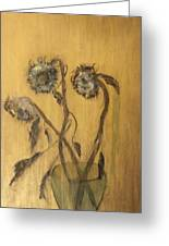 Sunflowers On Gold Greeting Card