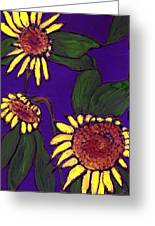 Sunflowers On Purple Greeting Card