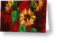 Sunflowers On Rojo Greeting Card