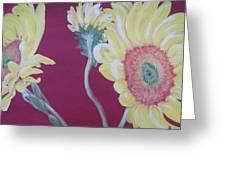 Sunflowers On The Run Greeting Card