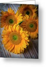 Sunflowers On White Boards Greeting Card