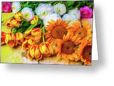 Sunflowers Tulips Greeting Card