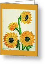 Sunflowers Using Palette Knife Greeting Card