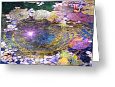 Sunglint On Autumn Lily Pond II Greeting Card