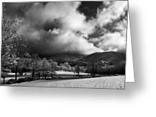 Sunlight Clouds And Snow In Black And White Greeting Card