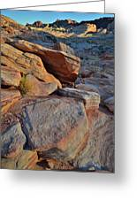 Sunlight Fades Out On Valley Of Fire Greeting Card