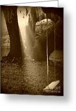 Sunlight On Swing - Sepia Greeting Card