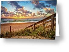 Sunlight On The Sand Greeting Card by Debra and Dave Vanderlaan