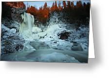 Sunlit Edge Of The Moraine Falls Greeting Card