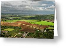 Sunlit Farms And Fields Below Arcos De La Frontera Andalusia Spa Greeting Card