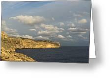 Sunlit Limestone Cliffs In Malta Greeting Card