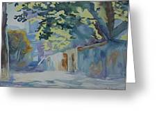 Sunlit Wall Under A Tree Greeting Card