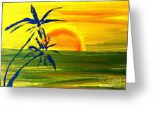 Sunny Blue Palms Greeting Card