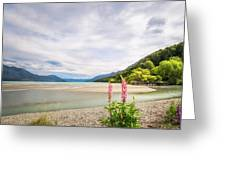 Sunny Day At Kinloch Wharf In New Zealand Greeting Card