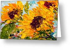 Sunny Day Sunflowers Greeting Card by Barbara Pirkle
