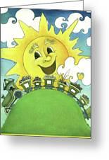 Sunny Day Train Greeting Card