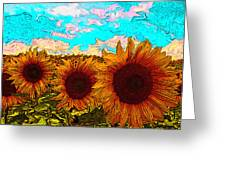 Sunny Faces- Sunflower Art Greeting Card