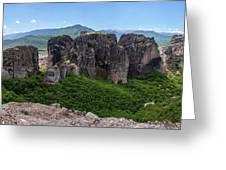 Sunny Panorama Of Greek Meteora Greeting Card
