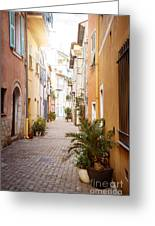 Sunny Street In Villefranche-sur-mer Greeting Card